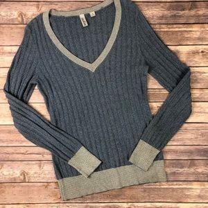 Caslon blue V neck sweater